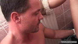 Blonde whore fisted in a toilet