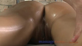 Preview 1 of Massage Rooms Young black haired beauties enjoy creampie and deep climax