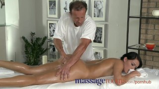 Preview 2 of Massage Rooms Young black haired beauties enjoy creampie and deep climax