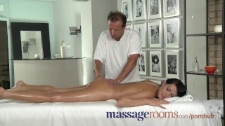 Preview 3 of Massage Rooms Young black haired beauties enjoy creampie and deep climax