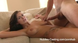 Nubiles Casting - Porn tryouts for busty babe ends with gooey facial