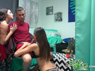 Preview 5 of Dare Dorm - Two college girls help a guy get over his cheating ex