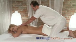 Massage Rooms Young busty babe has big tits oiled before hardcore fuck