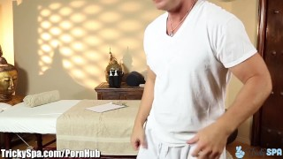 TrickySpa EXCLUSIVE Masseur Cums in Mouth of client