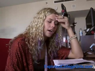 Preview 1 of Blonde College Hippie Fucked to Orgasm and Covered in Cum