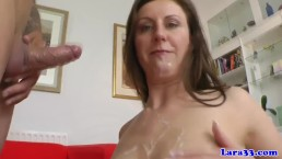English MILF loves young dudes jizz in mouth