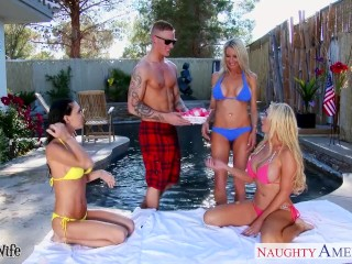 Preview 2 of Sexy wives Emma Starr, Jessica Jaymes and Nikki Benz sharing cock