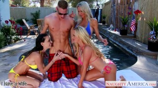 Preview 4 of Sexy wives Emma Starr, Jessica Jaymes and Nikki Benz sharing cock