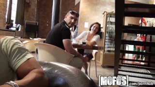 Preview 4 of Mofos - Young couple fuck in café in public