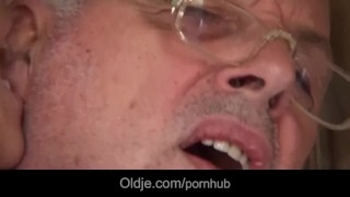 Preview 3 of Young brunette licks grandpa all over and fucks him