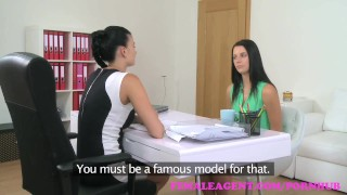 Preview 2 of FemaleAgent Busty agent seduces shy beauty in steamy lesbian casting