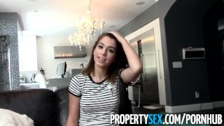 Preview 1 of PropertySex - Tenant with amazing natural boobs busted for porn torrents