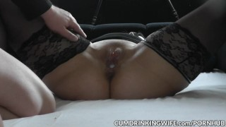 Preview 1 of Slutwife Marion creampied by plenty of guys