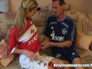 Preview 1 of Blonde Teen Stepdaughter Deep Fucked By Her Stepfather