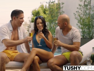 Preview 2 of TUSHY Bad GF Megan Rain Double Penetration
