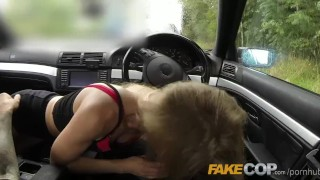 Preview 6 of Fake Cop Tiny bodied slut fucked in police car