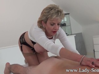 Preview 4 of Milf Lady Sonia gives hot handjob on massage table