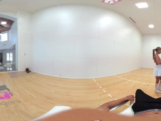 Preview 5 of VR Bangers-[360°VR] DILLION and PRISTINE SCISSORING after NAKED Racquetbal