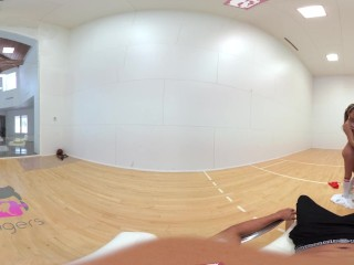 Preview 6 of VR Bangers-[360°VR] DILLION and PRISTINE SCISSORING after NAKED Racquetbal