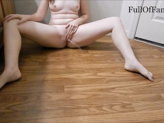 Preview 2 of Hot Amateur pisses all over wood floor (r/peegonewild Messy May contest)
