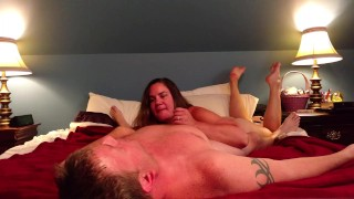 Preview 4 of Slut fucks her man and takes facial like the whore she is...