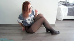 Birthday Wish For BF Teen Wearing Pantyhose And Makes Herself Cum