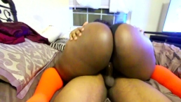 Cute Black Girl Rides Till YOU Cum -Wearing Glasses and Highsocks
