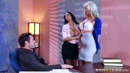 Described Video – Sexy Threesome in the Office - Brazzers