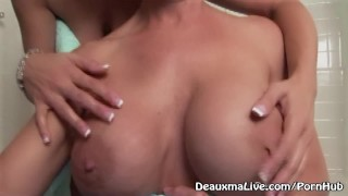 Preview 2 of Deauxma & Tanya Tate Shower During Live Show!