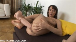 Skinny brunette ramming her pussy deep with two big brutal dildos in HD