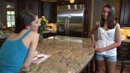 Teen stepsisters looking at lesbian porn together get frisky with each othe