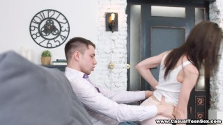 Preview 4 of Casual Teen Sex - Nerdy cutie fucks with passion