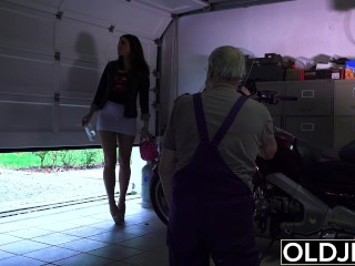 Preview 2 of Old man fucks young girl his small cock fucks her mouth and pussy