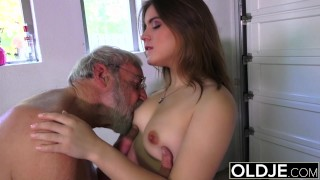 Preview 5 of Old man fucks young girl his small cock fucks her mouth and pussy