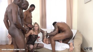 Preview 5 of Double Anal Double Penetration Group fuck 4 black men fuck 2 white girls