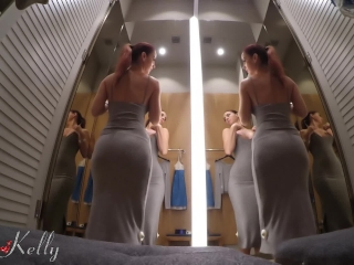 Preview 2 of Hot girl filming herself naked and masturbate in a public fitting room