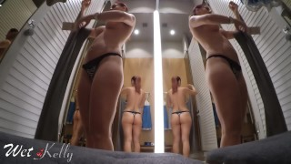 Preview 6 of Hot girl filming herself naked and masturbate in a public fitting room