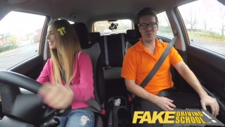 Preview 3 of Fake Driving School full scene - Hot Italian learner with big natural tits