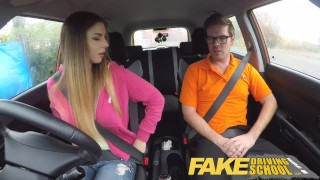 Preview 4 of Fake Driving School full scene - Hot Italian learner with big natural tits