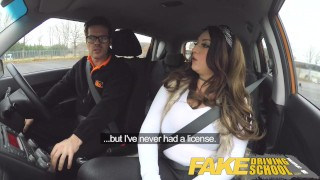 Preview 1 of Fake Driving School busty jailbird takes instructor on a wild ride!