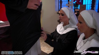 Preview 2 of Jessica Jaymes - Mick fucks Jessica and Nikki in the church