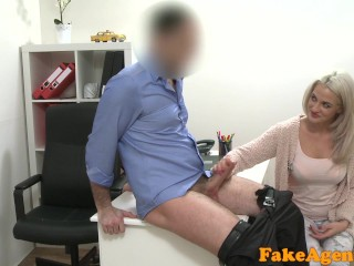 Preview 6 of Fake Agent Hot blonde model loves cock over the desk with her sushi