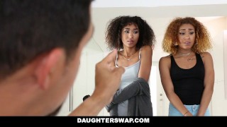Preview 5 of DaughterSwap - Ebony Daughters Punished & Fucked For Sneaking Out