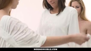 Preview 3 of MormonGirlz- Two Lesbians Seduce A Straight Teen