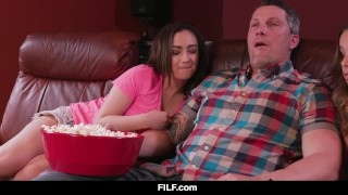 Preview 2 of FILF - Liza and Lily share stepdad's dick during a boring movie