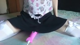 what's under her skirt?   cute teen cums hard, watch her pussy pulsate
