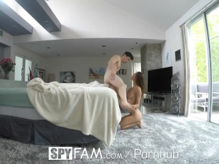 Preview 5 of SpyFam Sneaky step sister Charity Crawford slithers into step brothers bed