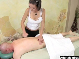 Preview 1 of AMZ - Busty Teen's Massage Gets His Cock Rock Hard