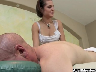 Preview 2 of AMZ - Busty Teen's Massage Gets His Cock Rock Hard