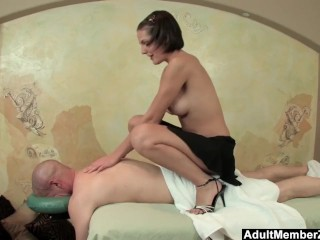 Preview 4 of AMZ - Busty Teen's Massage Gets His Cock Rock Hard